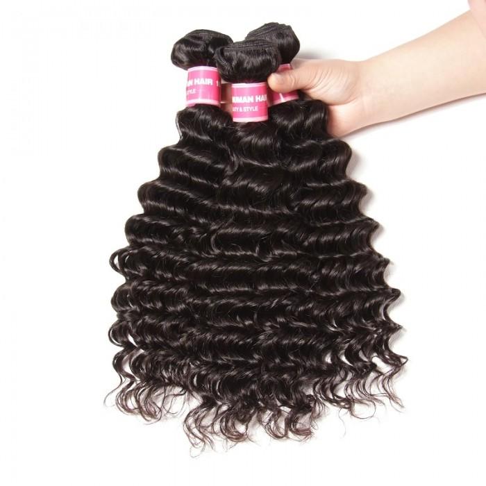 Kriyya Indian Deep Wave 3 Pcs Human Hair Bundles 9A Virgin Hair