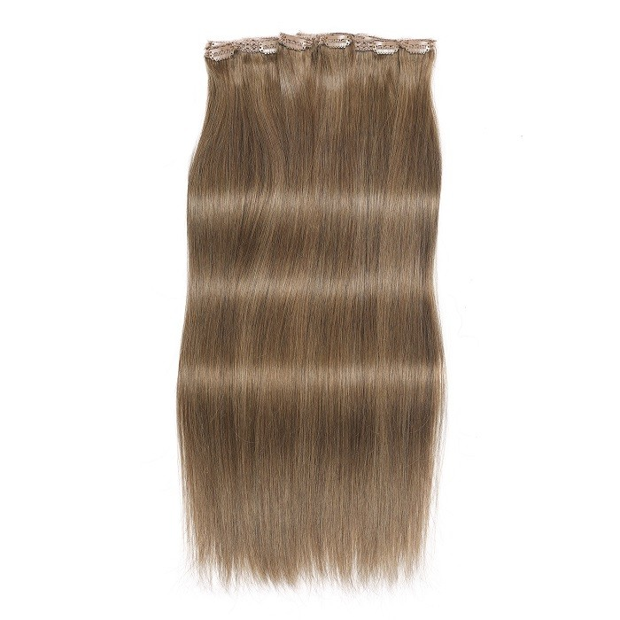 Kriyya 220g Seamless Clip In Hair Extensions Light Golden Brown Remy Hair