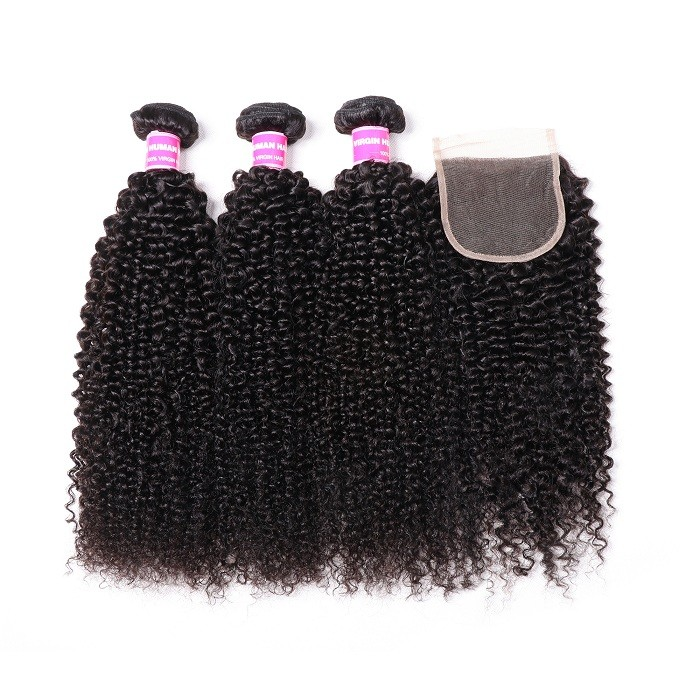 Kriyya 3 Bundles Kinky Curly With 4*4 Lace Closure Peruvian Human Hair