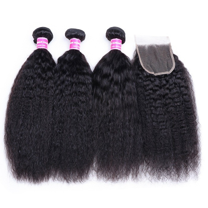 Kriyya Indian 100 Human Hair 3 Bundles With 4*4 Lace Closure Kinky Straight Hair