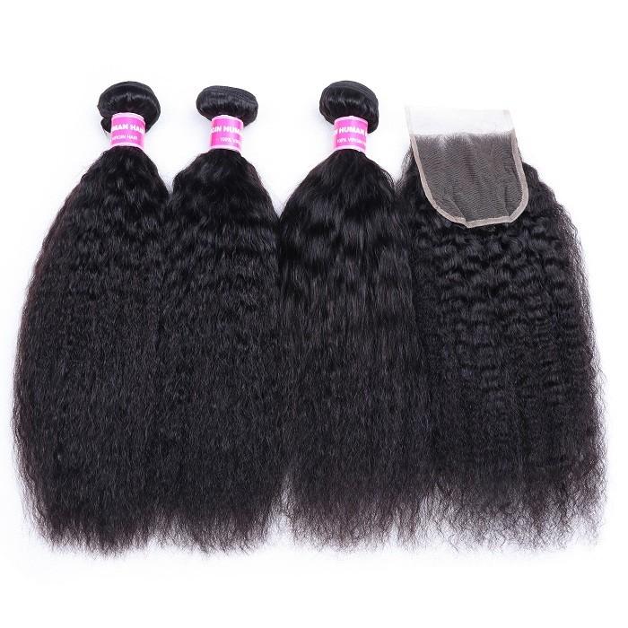 Kriyya Malaysian Virgin Remy Hair 3 Bundles With 4*4 Lace Closure Kinky Straight Hair