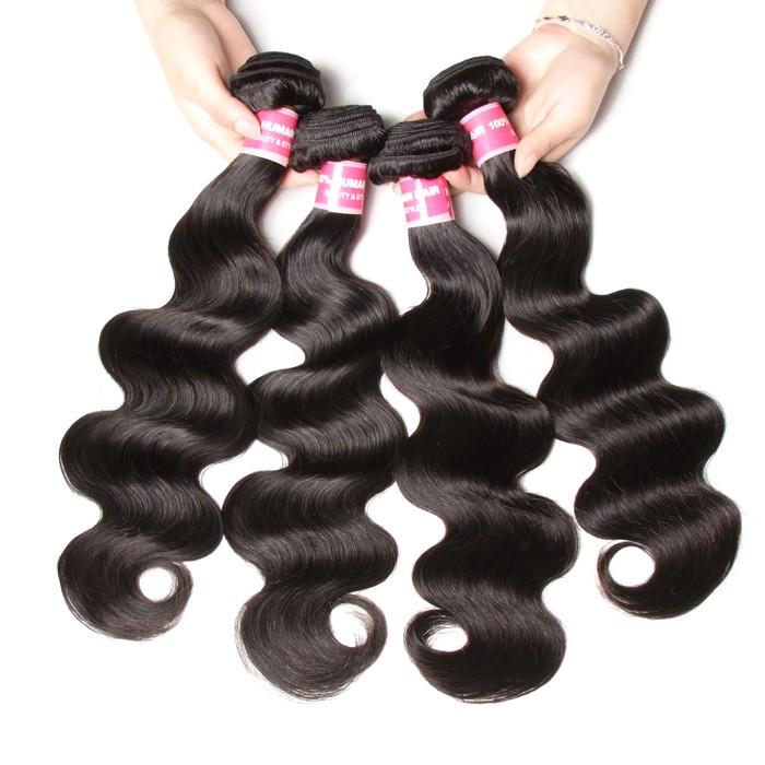 Kriyya Peruvian Body Wave Human Hair 4 Bundles Deals Unprocessed 9A Virgin Hair