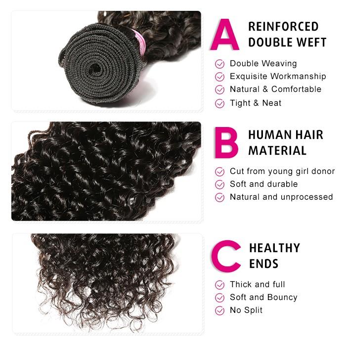Kriyya 3 Pcs Jerry Curly With 5*5 Transparent Lace Closure Peruvian 100% Virgin Hair