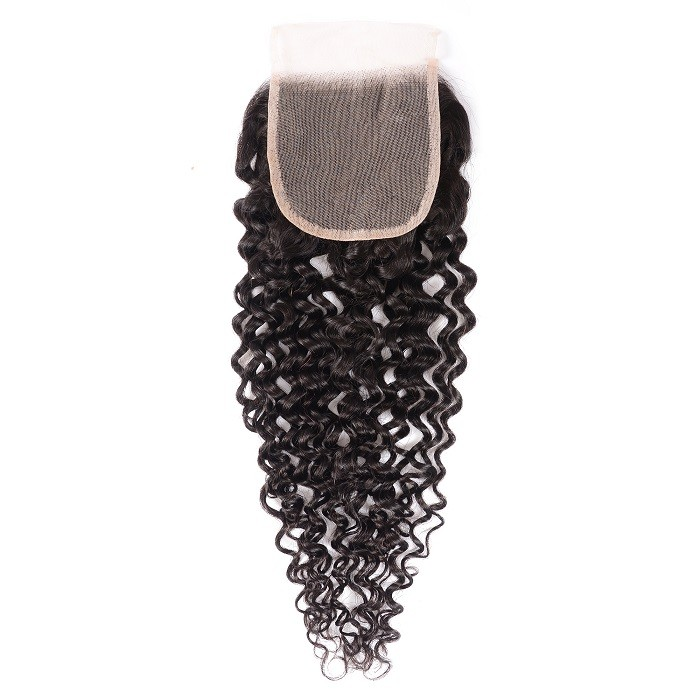Kriyya Jerry Curly Pre-Plucked Virgin Hair 4*4 Transparent Lace Closure