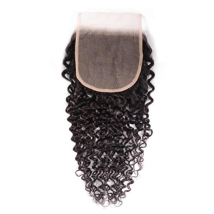 Kriyya Jerry Curly 5x5 Transparent Lace Closure 100% Virgin Human Hair