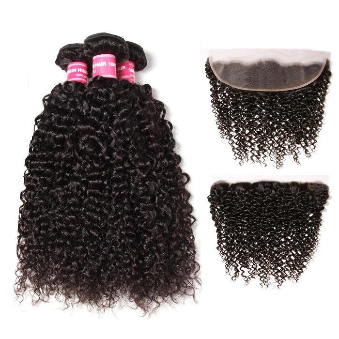 Kriyya Brazilian Virgin Human Hair Jerry Curly 3 Bundles With 13*4 Transparent Lace Frontal