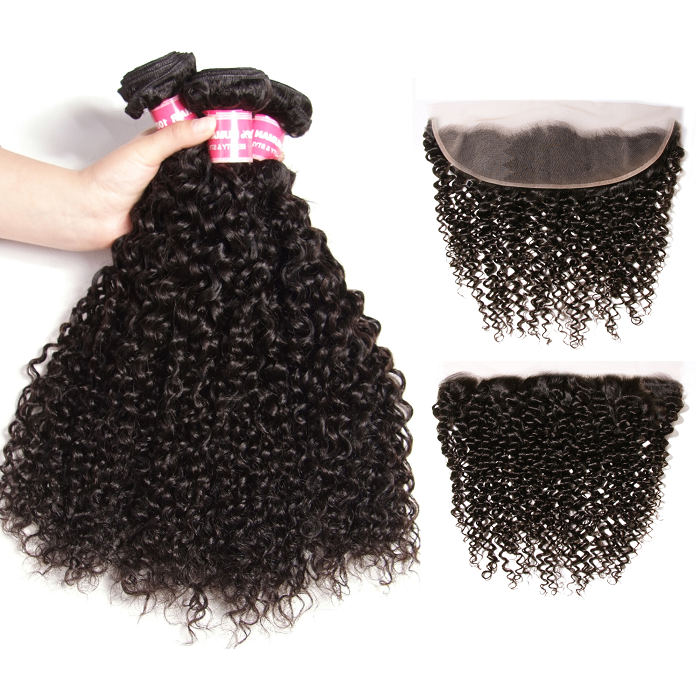 Kriyya Peruvian Unprocessed Virgin Hair 3 Bundles With Transparent Lace Closure 13*4 Inch Jerry Curly Hair