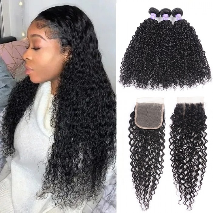 Kriyya Brazilian Jerry Curly Virgin Remy Hair 3 Bundles With 4*4 Lace Closure