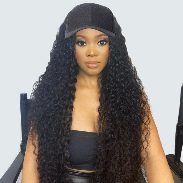 Kriyya Fashion New Jerry Curly Human Hair Wig Adjustable Natural Black Baseball Cap With Hair 20 inch