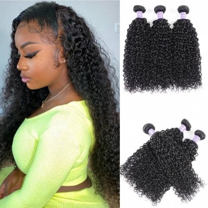 Kriyya Jerry Curly Weave Human Hair 3 Bundles Malaysian 7A Human Hair