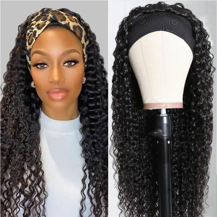Kriyya Jerry Curly Human Hair Headband Wigs Glueless Wigs 150% Density