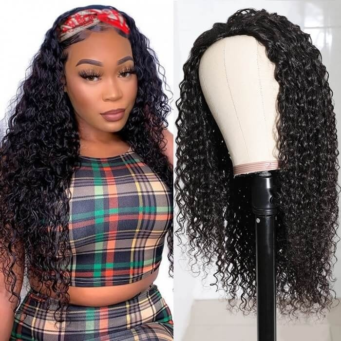 Kriyya Jerry Curly Wigs 3/4 Half Wig Brazilian Virgin Remy Hair Glueless Wigs Natural Color