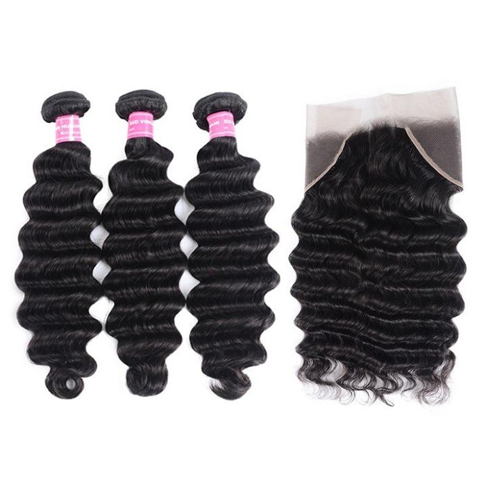 Kriyya Malaysian Virgin Hair 3 Bundles Loose Deep Wave Weave Hair With 13*4 Lace Frontal