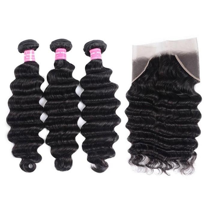 Kriyya New Loose Deep Wave 3 Bundles With 13*4 Lace Frontal Peruvian 100% Human Hair