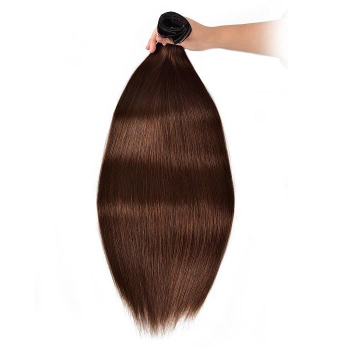 Kriyya Hair Extensions Seamless Clip Ins Chocolate Brown Human Hair Extensions