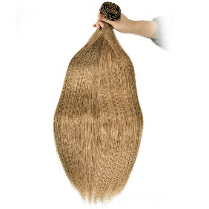 Kriyya Seamless Clip In Hair Extensions Light Golden Brown Remy Human Hair