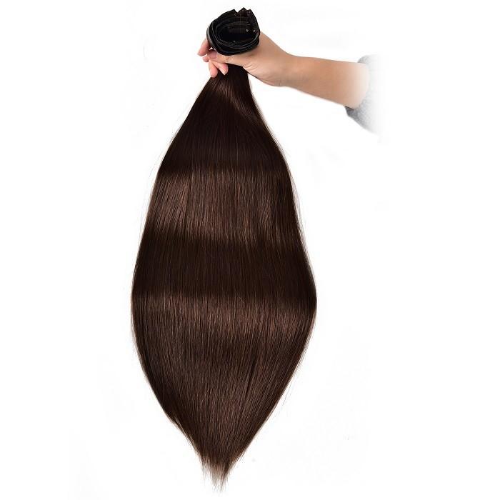 Kriyya Best Seamless Clip In Hair Extensions Dark Brown Remy Hair