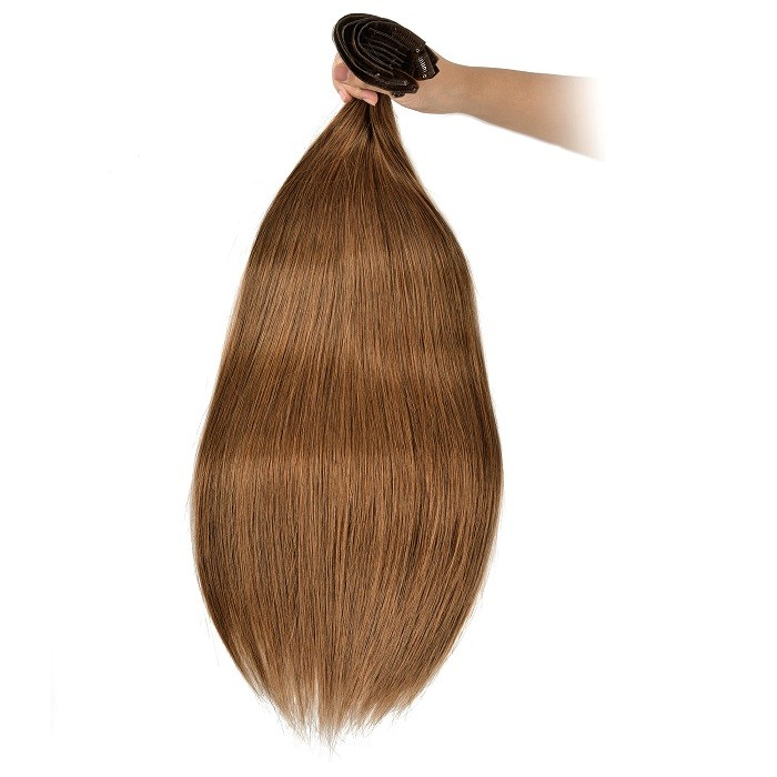 Kriyya Seamless Clip In Hair Extensions Chestnut Brown Remy human Hair Extensions