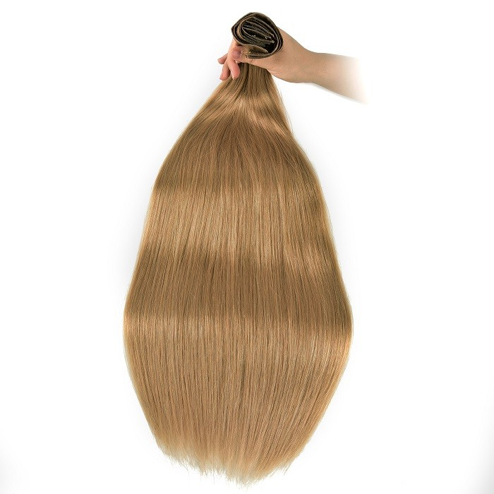 Kriyya Human Hair Seamless Clip Ins Strawberry Blonde Remy Hair Extensions