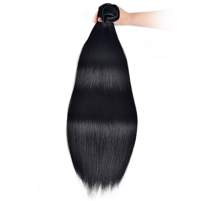 Kriyya Seamless Clip In Human Hair Extensions Jet Black Remy Hair Extensions