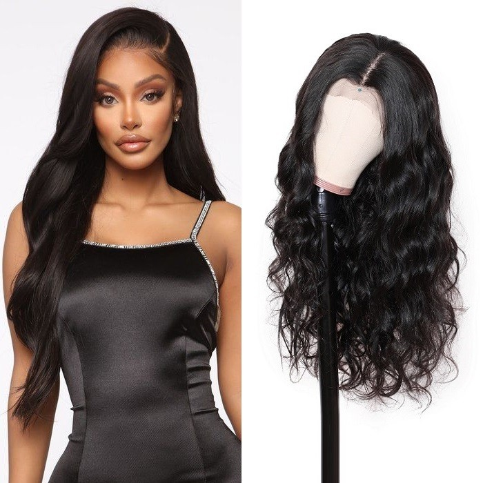 Kriyya 13x4 Transparent Lace Frontal Wig Pre Plucked Body Wave Human Hair Wigs 180% Density