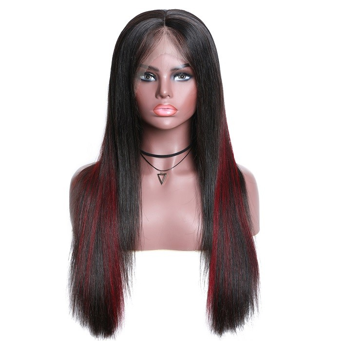 Kriyya 13x4 Transparent Lace Highlighted Wigs Straight Human Hair Wig 150% Density Pre-plucked