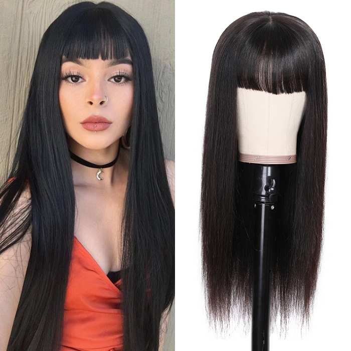 Kriyya 13x4 Transparent Lace Straight Human Hair Wigs With Bangs 130% 150% Density