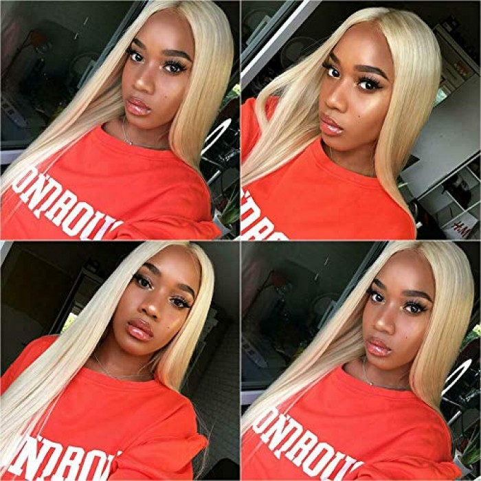 Kriyya 13x6 613 Blonde Lace Front Wigs Pre-plucked Straight Human Hair Wig 150% Density