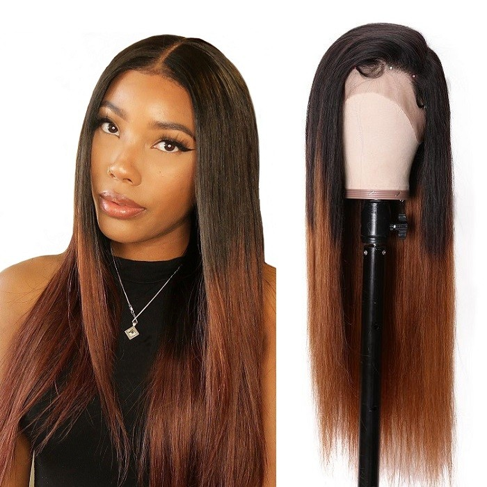 Kriyya 13x6 Straight Human Hair Lace Front Wigs 150% Density T1B4 Color