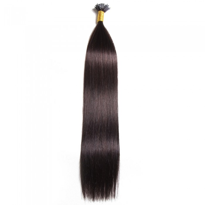 Kriyya 100% Remy I-Tip Hair Extensions-Off Black