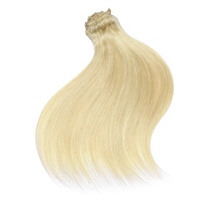 Kriyya 220g Clip In Hair Blonde Remy Hair Extension 100 Remy Human Hair Extensions