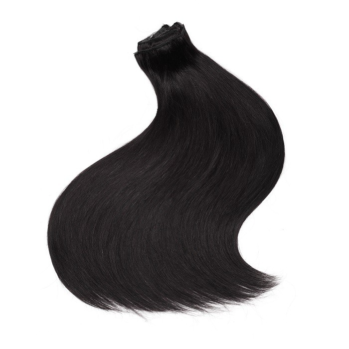 Kriyya 220g Clip In Jet Black Hair Color Real Hair Extensions 20-24 Inch Hair Extensions