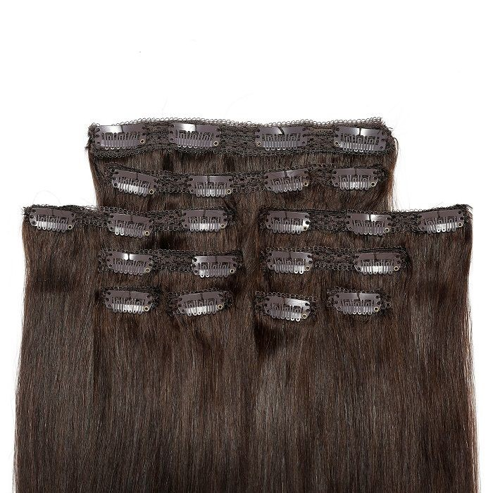 Kriyya Clip In Human Hair Extensions Chocolate Brown 24 Inch