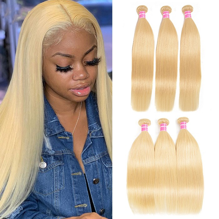 Kriyya 3 Bundles 613 Blonde Straight Human Hair Weave Brazilian Hair