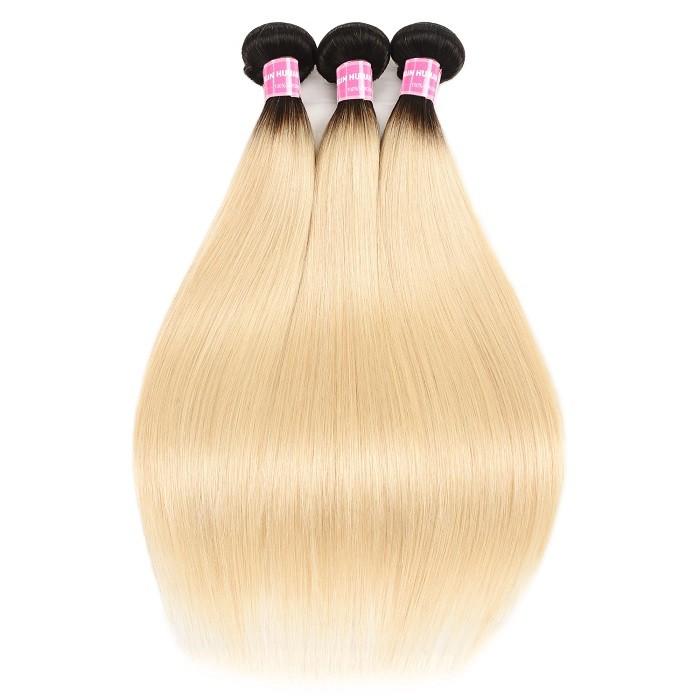 Kriyya 3 Bundles Brazilian Straight Hair T1B/613 Color 100 Human Hair Bundles