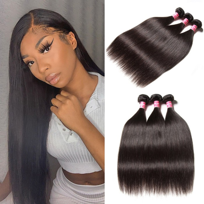 Kriyya 3 Bundles Straight Human Hair Weave Brazilian Hair