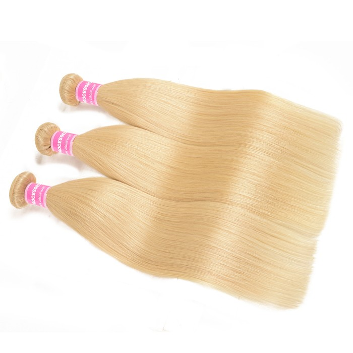 Kriyya 3 Pcs Straight Hair Weave 613 Blonde Unprocessed Indian Human Hair