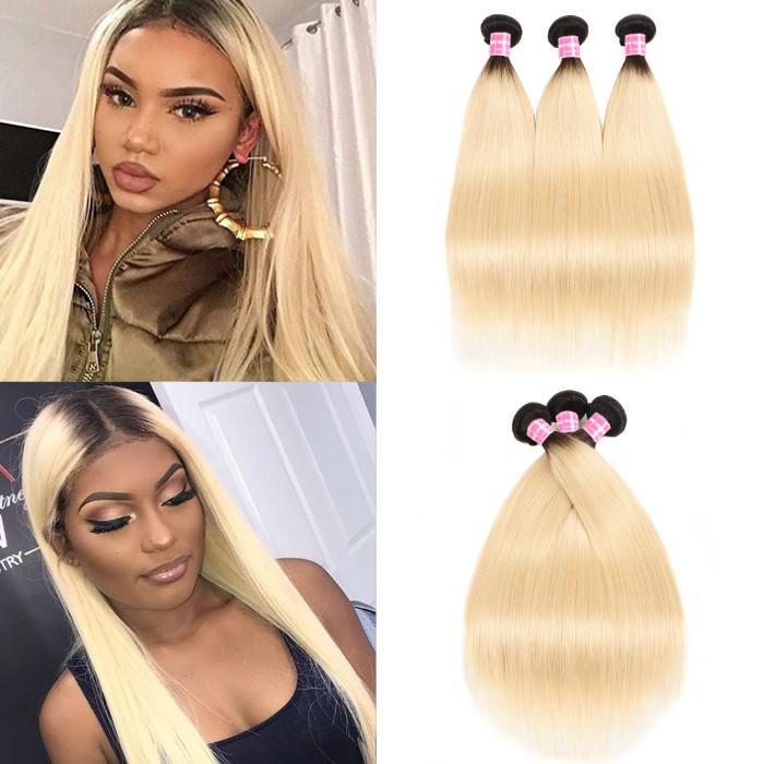 Kriyya 3 Pcs T1B/613 Ombre Virgin Hair Bundle Deals Indian Straight Hair