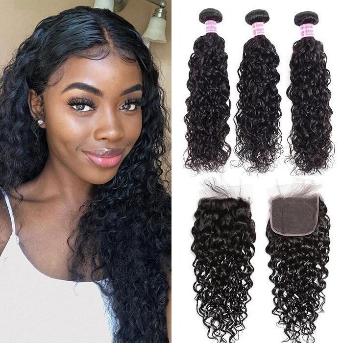Kriyya 3 Pcs Water Wave With 4*4 Lace Closure Brazilian Remy Human Hair