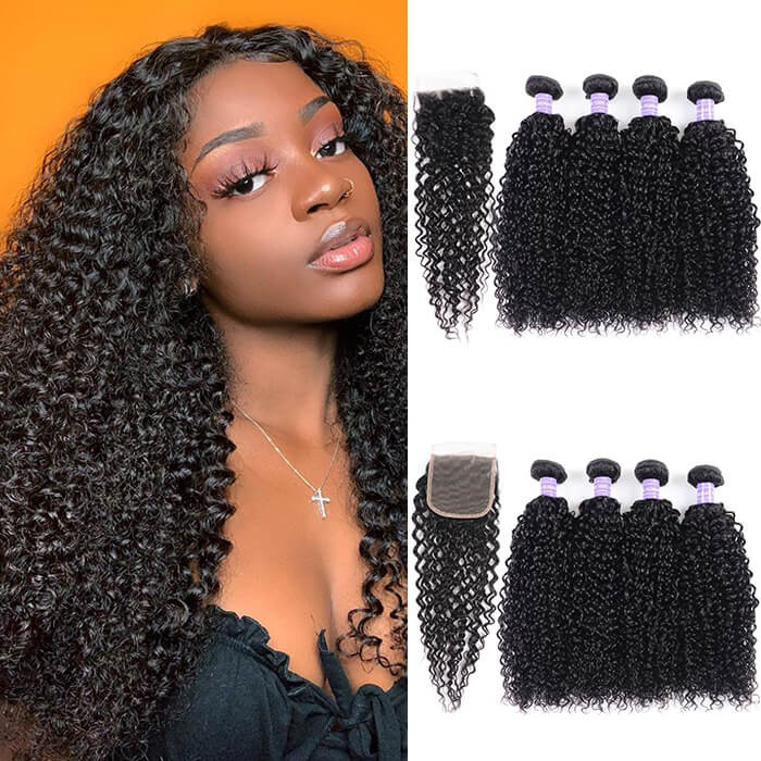Kriyya 4 Bundles With Closure Malaysian Jerry Curly Human Hair