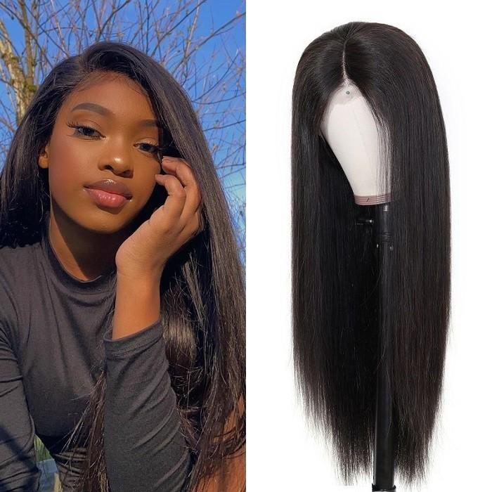 Kriyya 4x4 Lace Closure Wig Full 180% Density Straight Human Hair Wig For Sale