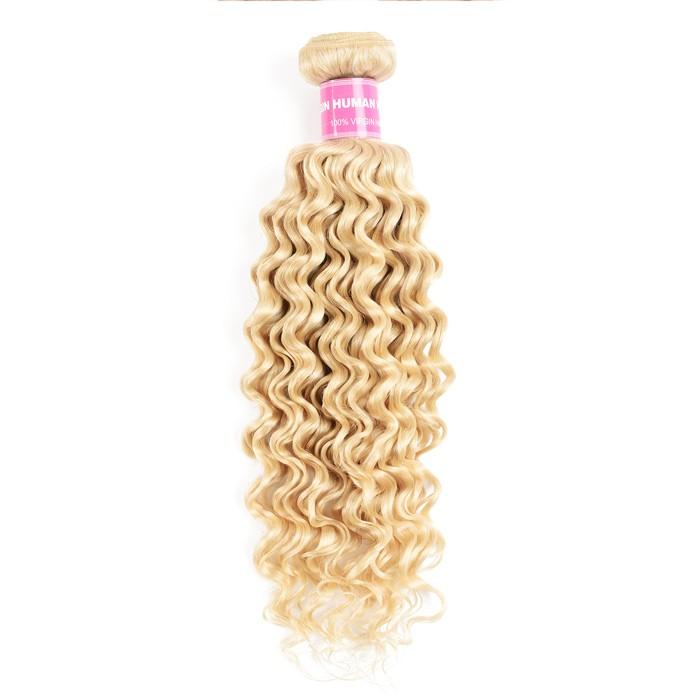 Kriyya 613 Blonde Virgin Hair 1Bundle Deep Wave Human Hair