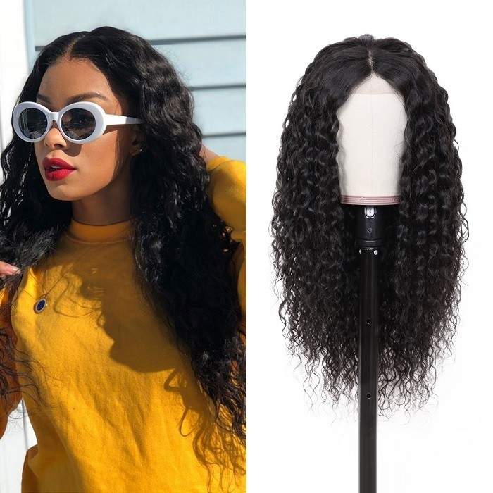 Kriyya Water Wave Lace Front Wig With Baby Hair Pre Plucked 13x4 Lace Front Wigs 180% Density