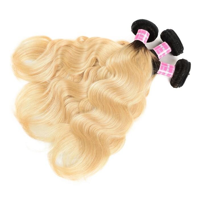 Kriyya Body Wave 3 Pcs Peruvian Human Hair Bundles T1B/613 Color Human Hair