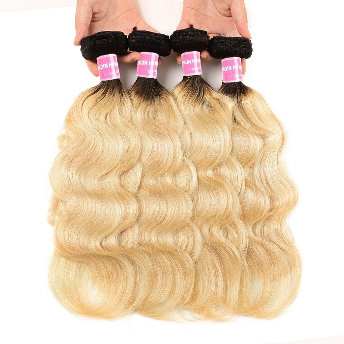 Kriyya Body Wave T1B/613 Ombre Indian Hair 4 Bundles 100 Human Hair Bundles