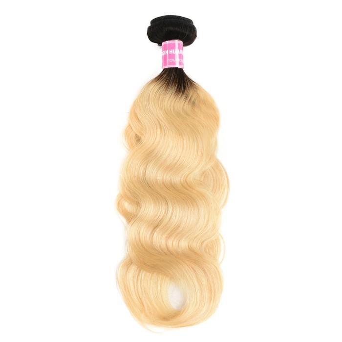 Kriyya Body Wave Weave T1B/613 Blonde Hair Color 1 Bundle 100% Virgin Hair
