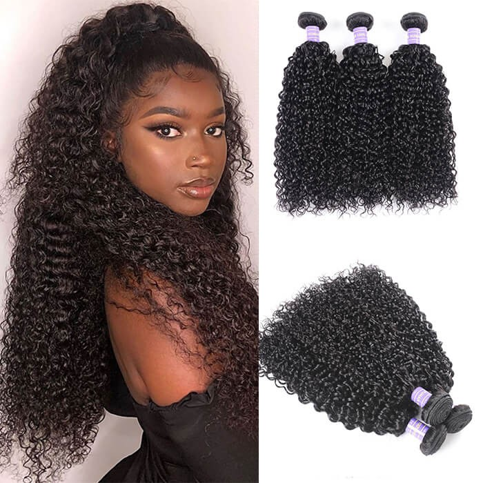 Kriyya Brazilian Jerry Curly Hair 3 Bundles Human Hair Weave 7A Hair