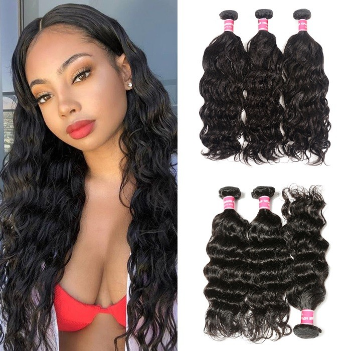Kriyya  Brazilian Hair Natural Wave 3 Bundles Deals 100% Virgin Human Hair