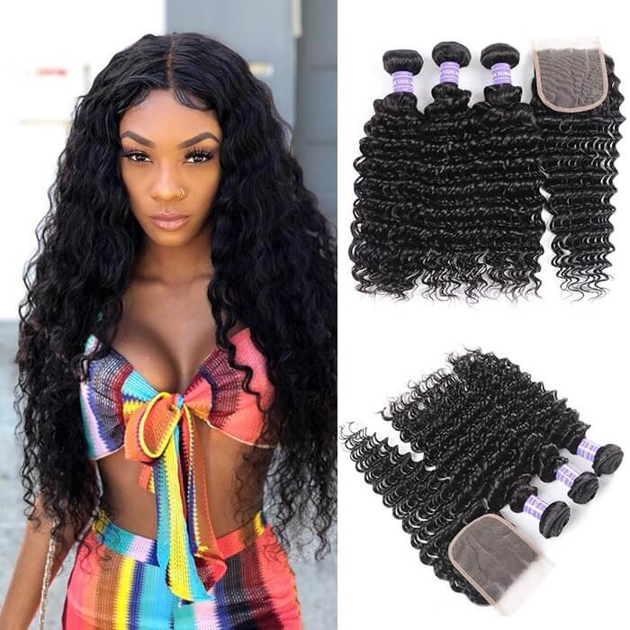 Kriyya Brazilian Unprocessed Human Hair Deep Wave 3 Bundles With 4*4 Lace Closure