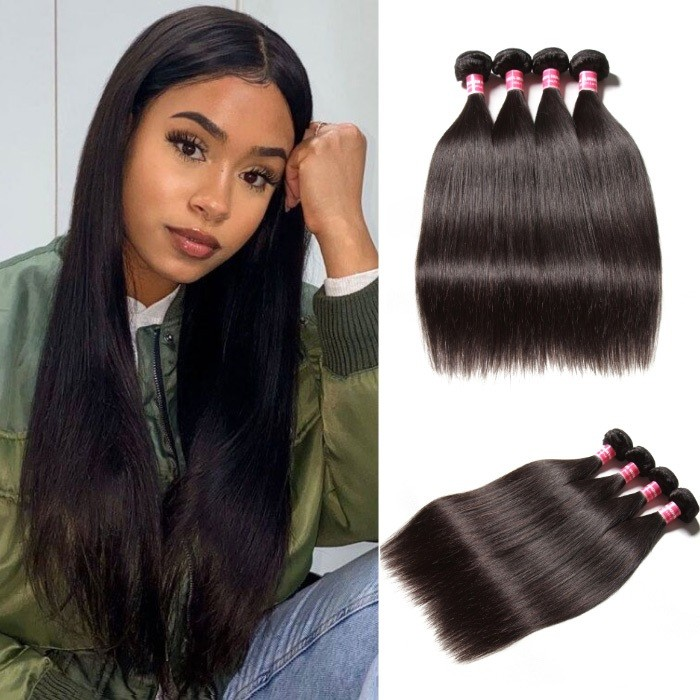 Kriyya Brazilian Virgin Hair 4 Bundles Straight Human Hair Weave 9A Virgin Hair